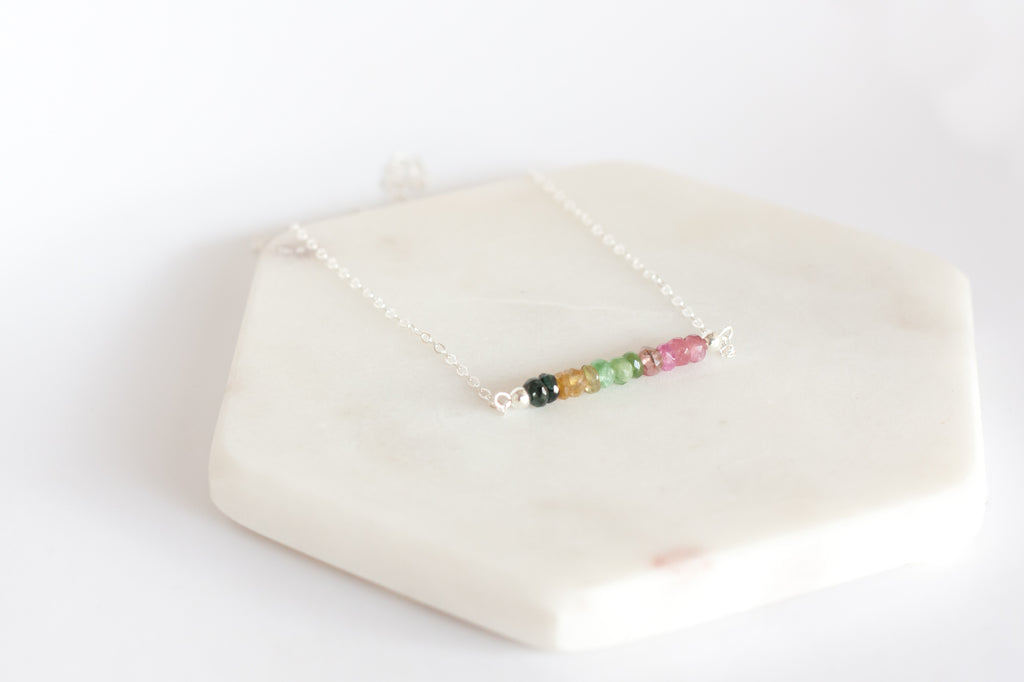 Tourmaline Bar Birthstone Necklace