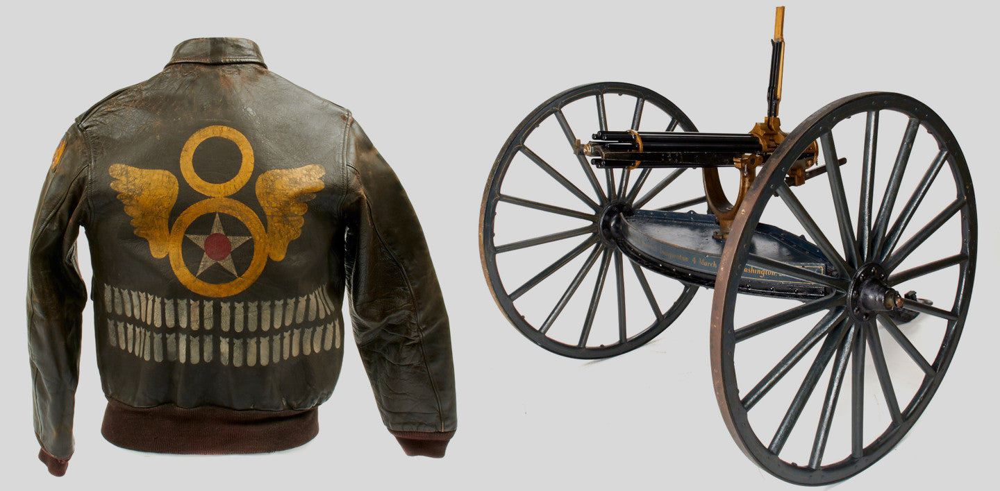 Military jacket and antique cannon