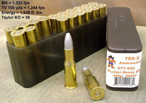 Martini-Henry 577/.450 Ammunition: Box of 20 by Ten-X