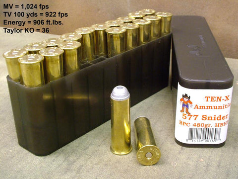 Snider 577 Ammunition: Box of 20 by Ten-X