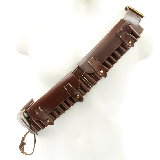 British Victorian Era Martini-Henry Rifle Brown Leather Ammunition Bandolier- 50 Round Capacity