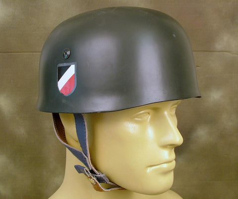 German WWII Paratrooper M38 Fallschirmjager Helmet with Affixed Decals