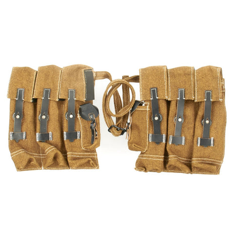 German WWII MP 44 Magazine Brown Jute and Leather Pouch Set - STG 44