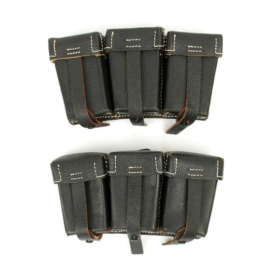 German WWII 98K Black Leather Triple Ammunition Pouch (Set of 2)