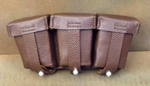 German WWII 98K Triple Ammunition Pouch: Brown (Set of 2)