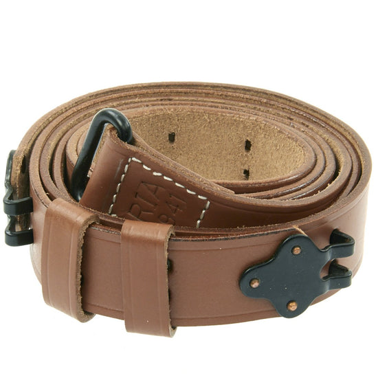 U.S. M1 Garand Rifle WWII 1907 Pattern Leather Sling with Steel Fittings