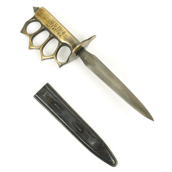 U.S. WWI Mark I Trench Knife with Steel Scabbard - Marked LF&C 1918