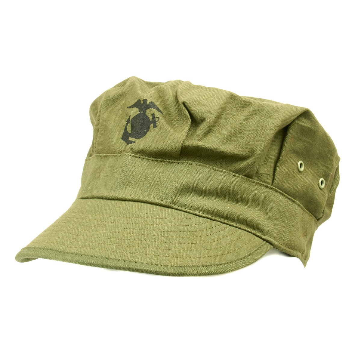 WW2 US HBT USMC Green Marine Corps Cap Hat Replica HIGH QUALITY