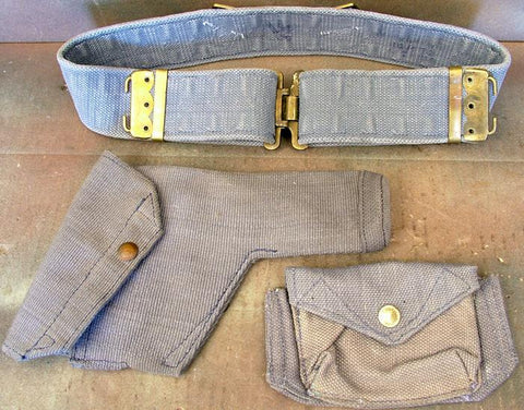 British WWII R.A.F Officer's Blue Web Set: Holster-Belt-Ammo Pouch