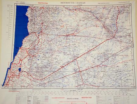Silk Escape & Evasion Map (WW2 Era): Lebannon, Syria & Part Saudi Arabia