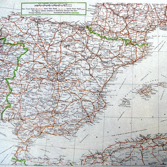 British WW2 Mulberry Leaf Tissue Map: Spain, Portugal, Sardinia