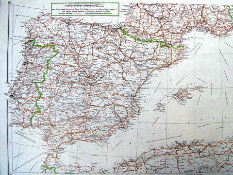 British WW2 Mulberry Leaf Tissue Map: Spain, Portugal, Sardinia Original Items