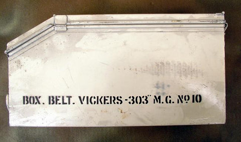 British Vickers MMG Steel Ammunition Can: White