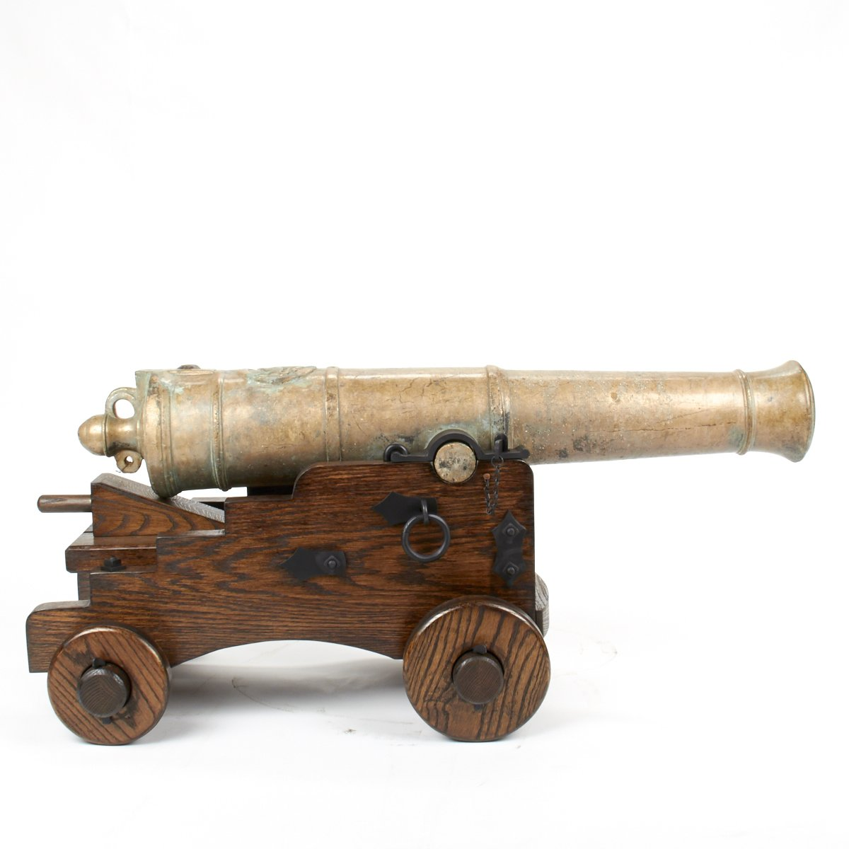 original 18th century 9 pounder demi culverin bronze cannon with oak