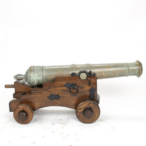 Original 18th Century Bronze 2-Pounder Falcon Cannon with Oak Naval Carriage Original Items