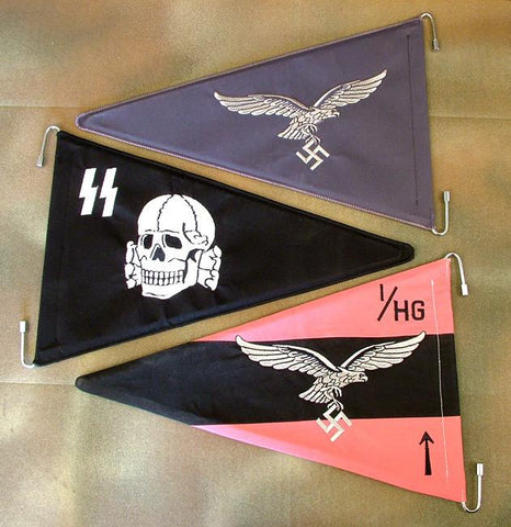 German WW2 Rigid Staff Auto Pennant: Set of Three