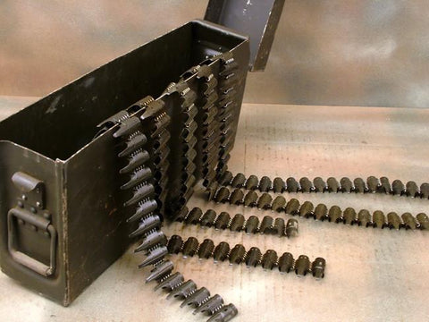 German MG 34/42 Ammunition Can: Black Aluminum w/ 5 Belts Original Items