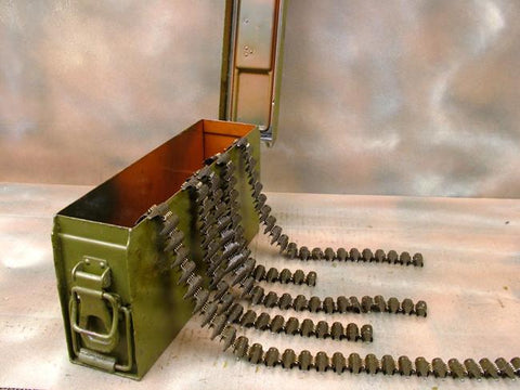 German MG 34/42 Ammunition Can: Steel Green w/ 5 Belts