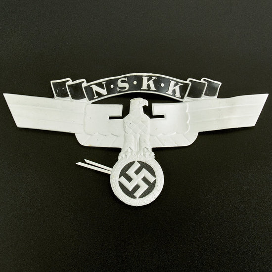Original German WWII 2nd Pattern NSKK Crash Helmet Eagle Badge Plate - New Old Stock Original Items