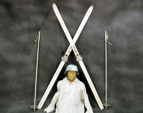 German WW2 style Mountain Trooper Skis & Poles Set