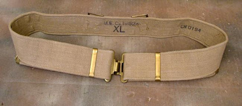 British Tan Web Pistol Belt: WWII Era
