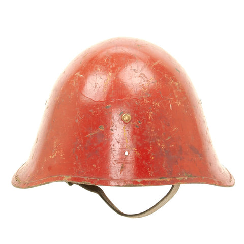 Original WWII Danish Model 1923 Helmet - Adapted for Fire Service