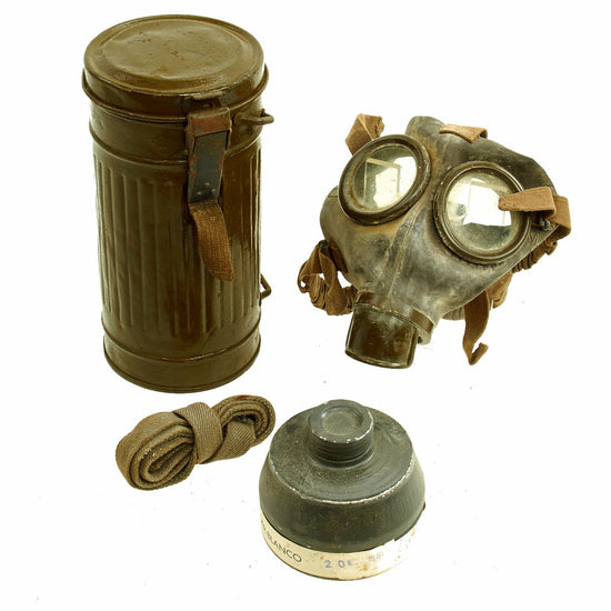 Original Italian WWII M31 Gas Mask with Filter and Canister Original Items