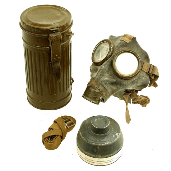 Original Italian WWII M33 Gas Mask with Filter and Canister Original Items