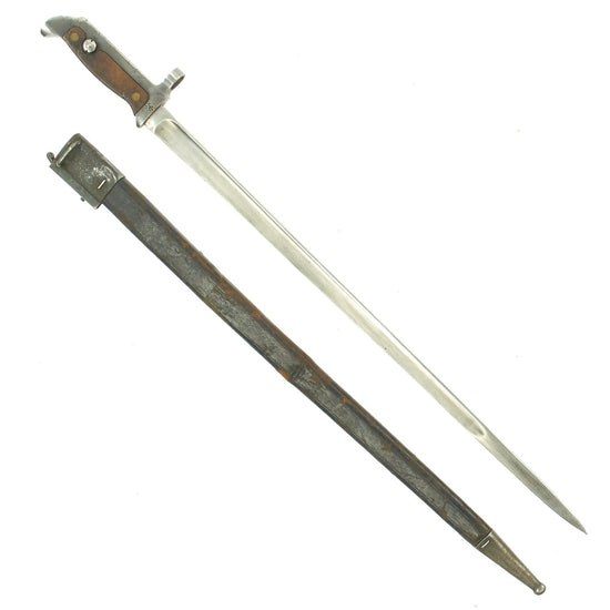 Original Danish Krag–Jørgensen M1915 T-Back Bayonet for Gevær M/89 Rifle with Scabbard