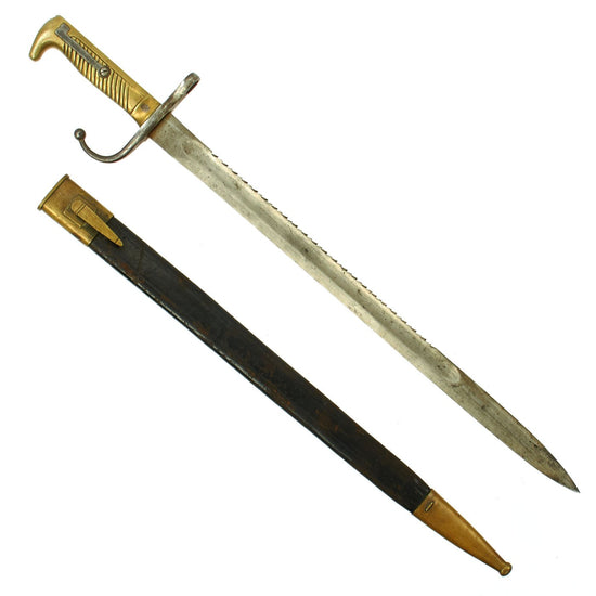 Original German-made South African Boer Mauser M1871-Style Reversed Quillon Bayonet with Scabbard Original Items