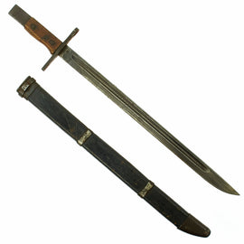 Original Japanese Late WWII Arisaka Type 30 Bayonet by Toyoda with Wooden Scabbard