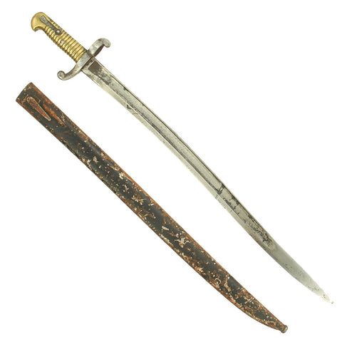 Original German Captured French M1842 Saber Bayonet Reissued in Regimentally Marked Ersatz Scabbard Original Items