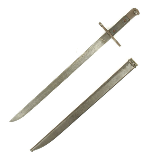Original Japanese WWII Mid-War Pattern Arisaka Type 30 Bayonet with Scabbard -Straight Crossguard