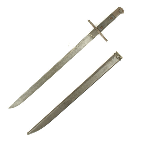 Original Japanese WWII Mid-War Pattern Arisaka Type 30 Bayonet with Scabbard -Straight Crossguard Original Items