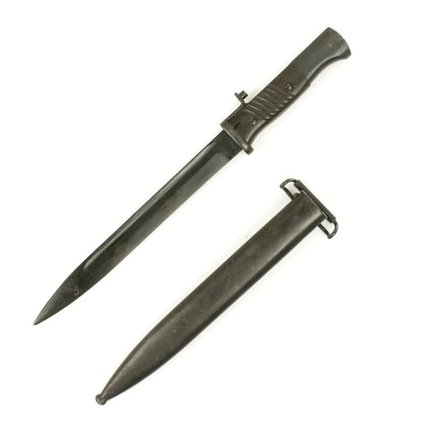 Original German WWII 98k Bakelite Grip Bayonet with Scabbard - Modified to fit M1 Garand Rifles
