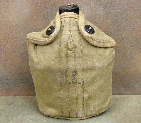U.S. WWII Canteen in British Made Carrier: Rare WWII Issue