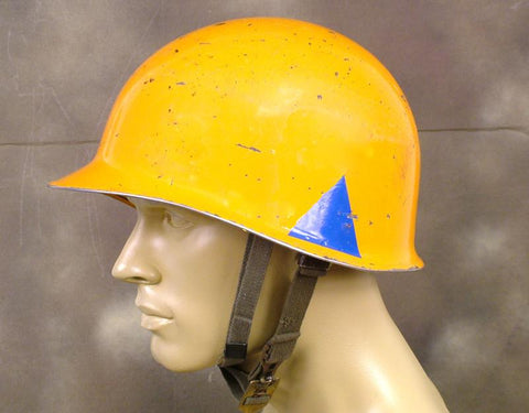 U.S. WWII Type Orange M1 Steel Helmet with Blue Division Tags Original Items