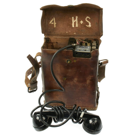Original U.S. WWII Army Field Telephone Model EE-8 with Leather Carry Case and Strap Original Items