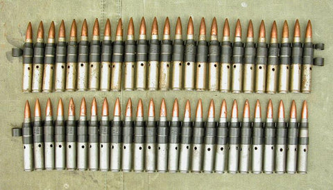 US WW2 Steel Dummy Ball Cartridges in Links-50