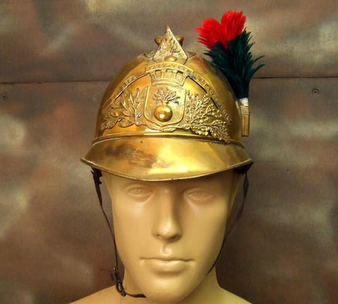 French Late 19th Century Brass Fire Helmet: One Only