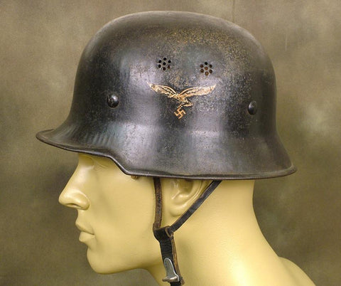 German WW2 Luftwaffe MP Helmet: Double Decal: One Only! Original Items