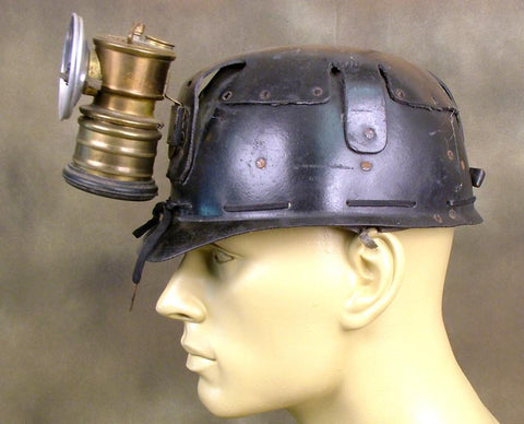British Leather & Brass Miner's Helmet: WW1 (Dated 1916)