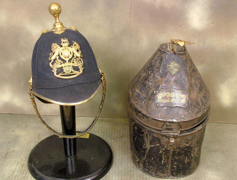 British Victorian Officer Blue Cloth Helmet: Royal Artillery (One Only)
