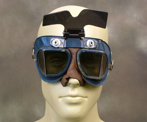 British WW2 RAF Spitfire Fighter Pilot Goggles: Flip Sun Shield (One Only) Original Items