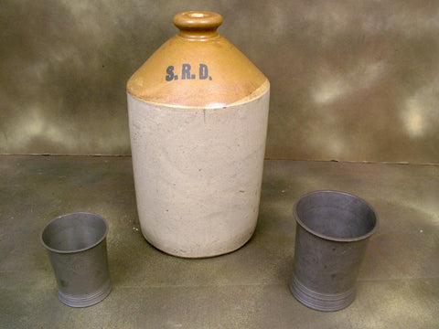 British WWI Dated Military Pewter Measures and Rum Jug Set (One Only)