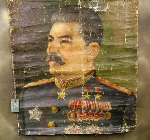 Soviet Pre-WW2 Canvas Oil Painting of Stalin: German Eastern Front