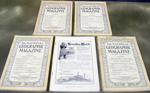 U.S. WWI National Geographic Magazine Collection: 5 copies from 1917-18 (One Set Only) Original Items