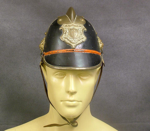 German (Bavarian) Pre-WW1 Steel & Brass Fire Helmet (One Only)