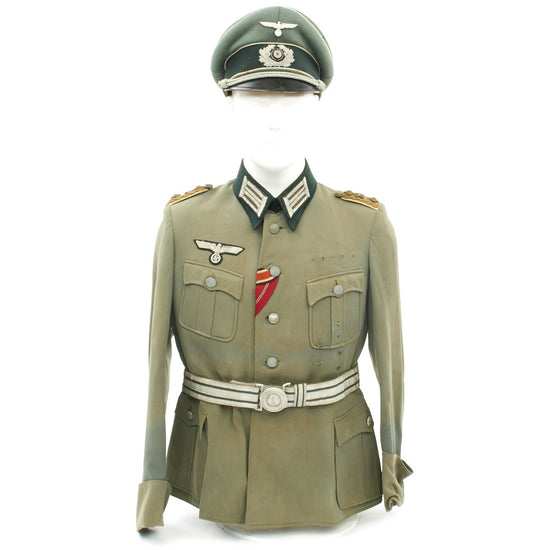 Original German WWII Army Colonel Tailored Uniform - Tunic, Belt, Visor Cap by Erel
