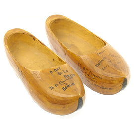 Original U.S. WWII 29th Infantry Division USGI Signed Dutch Wood Clogs - Bring Back